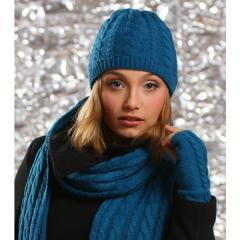 Ciepłe czapki zimowe w warkoczyki - podwójne