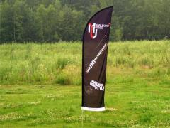 Advertising flags with extremely durable polyester
