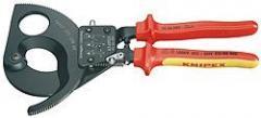Nożyce do kabli Knipex z mechanizmem zapadkowym