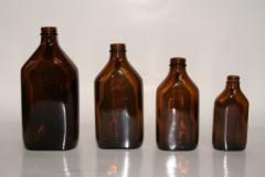 Butelki medyczne - płaskie - szkło oranżowe