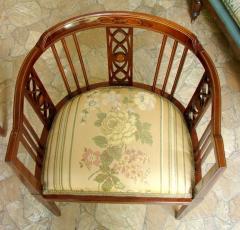 Fotel narożny edwardiański wykonany z mahoniu,