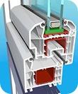 System pieciokomorowy o glebokości zabudowy 70 mm, z uszczelnieniem zewnętrznym.