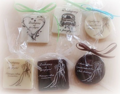 Drawing, logo and text on chocolate, packaging and