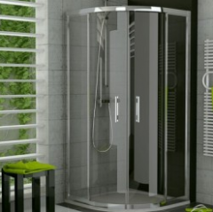 Angular shower cubicle