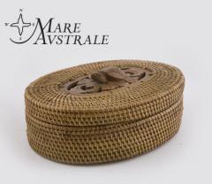 Pudełko Box deco grass weaved oval W/ LID