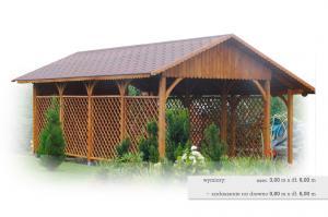 Wiaty garażowe z drewnianych bali W1