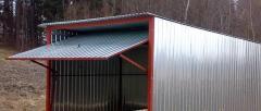 Garaż blaszany typowy 3x5 z bramą uchylną (podnoszoną do góry)