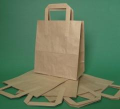 Paper bag with flat handle 22x11x28 cm brown