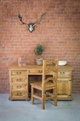 Drewniane biurko sosnowe woskowane rustykalne
