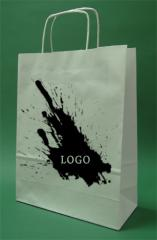 Paper bags with handle screw white printing + 1 + 0 24x10x32 cm - 5,000 units.