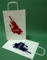 Paper bags with handle screw white printing + 1 + 0 24x10x36 cm - 5,000 units.