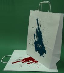 Papírové tašky s držadlem šroub černobílého tisku + 1 + 0 30x17x44 cm - 400 ks.