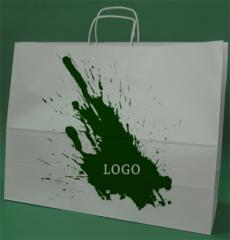 Paper bags with handle screw white printing + 1 + 0 -200 58x18x39 cm pieces.