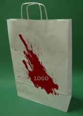 Papírové tašky s držadlem šroub černobílého tisku + 1 + 0 33x12x50 cm - 400 ks.
