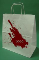 Paper bags with handle screw white printing + 1 + 0 30x17x34 cm - 5,000 units.