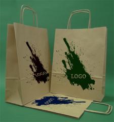 Papírové tašky s rukojetí šroubu hnědý + 1 + 0 print 24x10x32 cm - 5.000 jednotek.