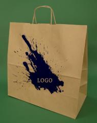 Papírové tašky s rukojetí šroubu hnědý + 1 + 0 print 40x18x39 cm - 5.000 jednotek.