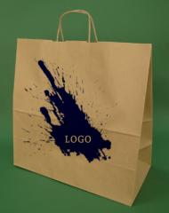 Paper bags with handle screw brown + 1 + 0 print 40x18x39 cm - 100 pcs.