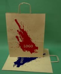 Paper bags with handle screw brown + 1 + 0 print 35x18x44 cm - 5,000 units.