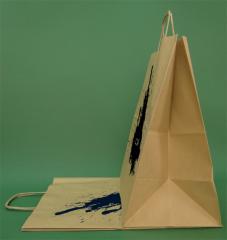 Χάρτινες σακούλες με βίδα λαβή 30x17x34 καφέ + 1 + 0 εκτύπωσης cm - 100 τεμ.
