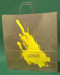 Papírové tašky s rukojetí šroubu hnědý + 1 + 0 print 45x17x48 cm - 10,000 jednotek.