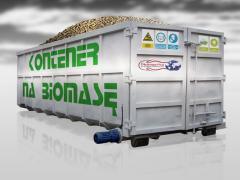 Kontener z ruchomą podłogą wygarniającą na biomasę