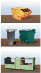 Ekologiczne pojemniki na odpady, makulaturę, szkło, baterie, plastik, śmieci produkcyjne, złom, odpady chemiczne, inne