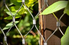 Stainless steel constructions in garden