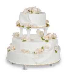 Tort białe, pozłacane róże