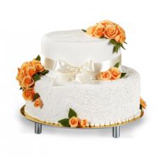 Tort różyczki w kolorze morelowym, kokarda i