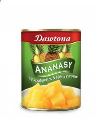 Ananasy w kostkach w lekkim syropie Dawtona