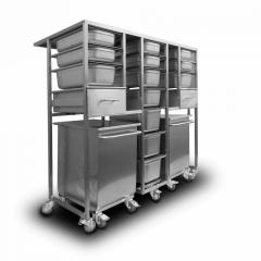 Wózek z pojemnikami na produkty sypkie ze stali