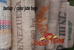 Worki jutowe po ziarnie kakaowym i kawie, dekoracyjne, oryginalne nadruki