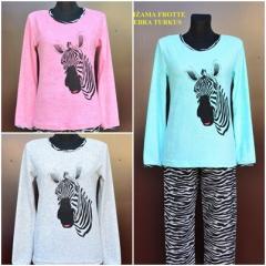 Piżama damska-dziewczęca frotte z zebrą