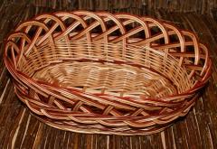 Koszyk/taca ażurowa owalna z wplecioną bordową