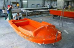 Open lifeboat made of durable fiberglass