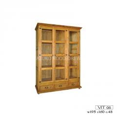 Witryna drewniana sosnowa biblioteczka VIT 08