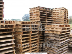 Wooden pallets, pans for boxes