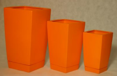 Square, high flower pots. In  juicy colors,