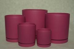 Doniczki ceramiczne matowe z integralnymi spodkami