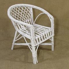 Fotelik, krzesełko - białe - wiklina