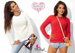 Sweterek sweter zamek lamówka ażur kolory#M10#