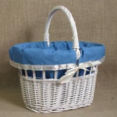 Wiklinowy kosz na zakupy - biały, niebieskie