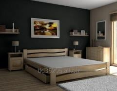 Adult bed made of wood, large double bed to the