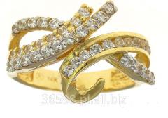 Efektowny pierścionek, wykonany ze złota próby 585 z wieloma cyrkoniami