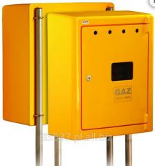 Skrzynka gazowa, do montażu węzła redukcyjno-pomiarowego (reduktor + gazomierz) przyłącza gazu średniego ciśnienia lub punktu pomiarowego (gazomierza) przyłącza gazu niskiego ciśnienia