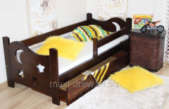 Seweryn bed with solid pinewood stained of the