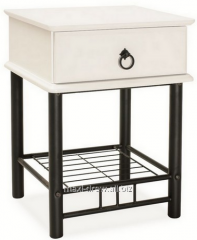 Lidia, posh bedside made of white wood and black