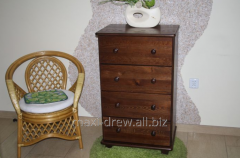 Pine wood  chest of drawers with four drawers