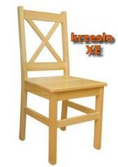 """Krzesło drewniane sosnowe XE, dwukrotnie lakierowane z międzyszlifowaniem. Modny wzór z """"X"""" na oparciu"""